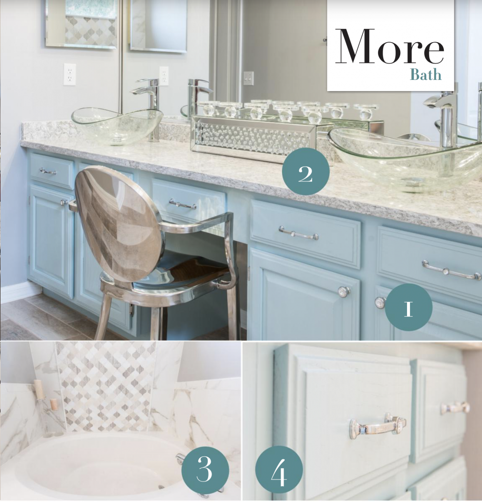 Remodeled bathroom with granite countertops and light blue cabinets