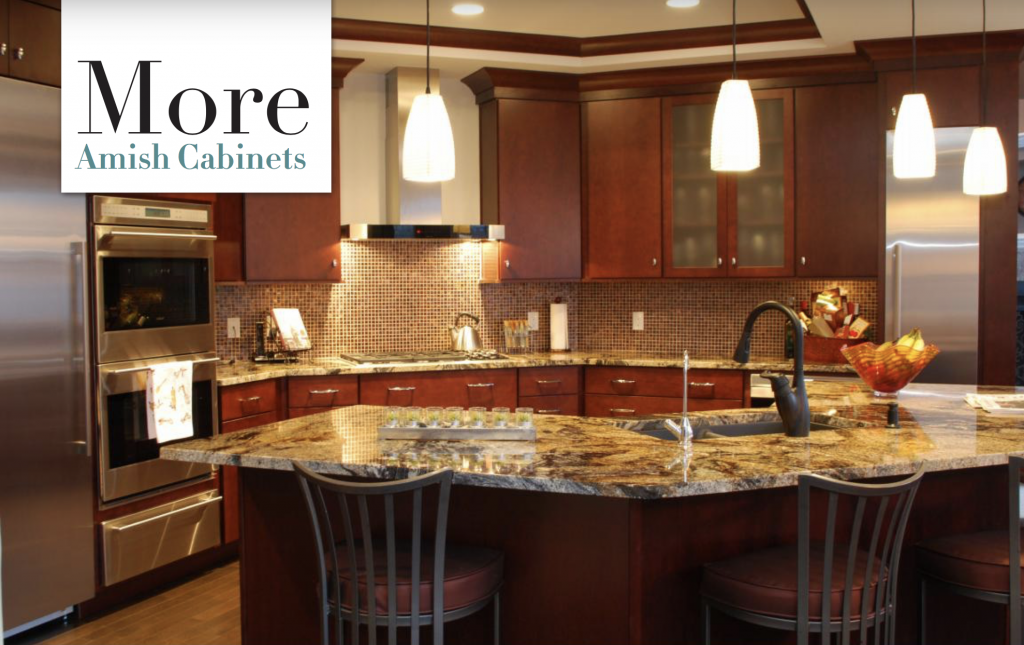 Rich brown cabinets in a beautiful open kitchen