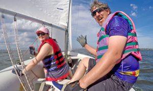 sailing students Kelli Leyte and Craig Brown