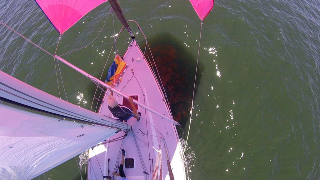 Andrew Clarke performs a spinnaker jibe