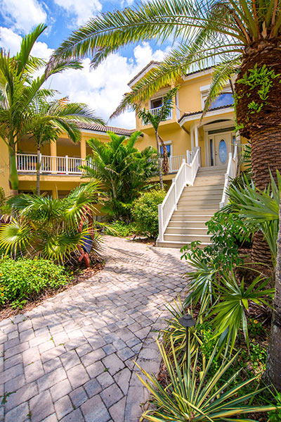 principal entry way on the oceanfront home